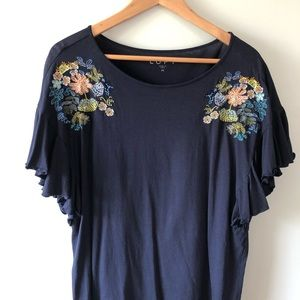 Loft Embroidered Shirt with Ruffle Sleeves